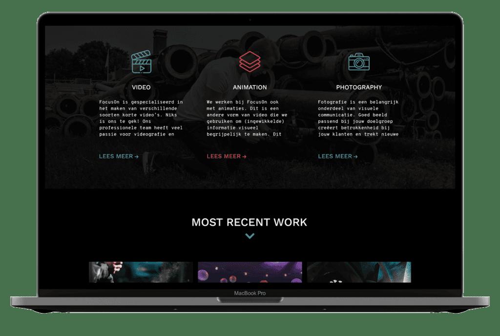 Portfolio focusonproductie home page