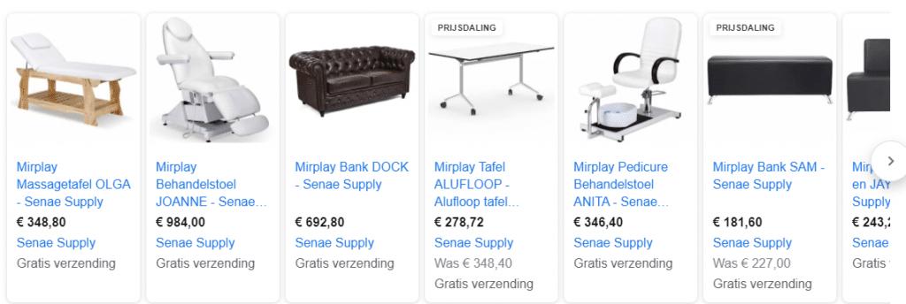 Voorbeeld Google Shopping